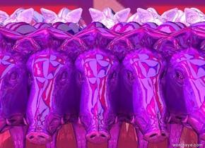 There are ten shiny glass boars. There are ten shiny glass boars in front of them. They are -.75 feet apart.   There is a mauve illuminator above and behind them.  The ground is shiny fuschia. The sky is Nepal.