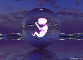A transparent sphere is on a reflective black moonscape. An upside-down glass baby is 20 inches to the right of the sphere. The baby is 5 inches above the ground. A bright blue light is in front of the sphere. A bright red light is behind the sphere. A white light is above the sphere.