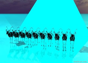 the ground is shiny Aqua. there are ten translucent teal antelopes. there is a 50 feet tall aqua pyramid 20 feet behind them. there is an Aqua light above the antelopes.