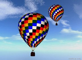 There is a tiny hot air balloon 50 feet above ground. The ground is small grass. There is small hot air balloon 40 feet above ground.