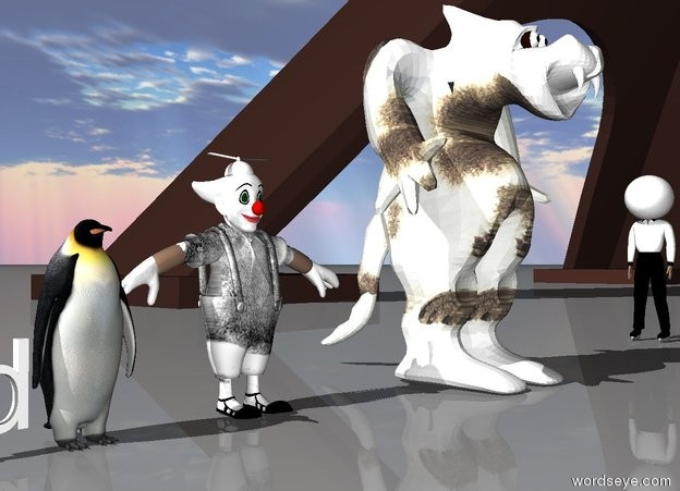 Input text: The penguin is to the right of the Pilchard. the walrus clown is to the right of the penguin. the rabbit Monster is to the right of the clown. the man is 10 feet to the right of the monster. he is facing the monster. the very huge egg is -1 foot above the man. the small eiffel tower is to the right of the man.