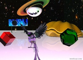The sky is [image-8006]. The ground is dull white. The translucent lavender 5 foot tall bird is 3 feet above the ground. The bird's tail is translucent lavender. The bird's leg is translucent lavender. The huge red light is inside the bird. The huge blue light is 2 feet to the left of the bird. The huge green light is 2 feet to the right of the bird. There is a 14 inch tall translucent red cube 1 foot to the left of the bird. The cube is leaning 40 degrees to the left. There is an 18 inch tall translucent green dodecahedron 1 foot to the right of the bird. The dodecahedron is leaning 40 degrees to the right. There is a 2 foot tall silver saturn above the bird. It is leaning 25 degrees to the right. There is a 25 foot tall gold clam 90 feet behind the cube. The clam is 11 feet inside the ground. The clam is leaning 10 degrees to the left. There is a 60 foot wide [image-8004] billboard 100 feet behind the clam. The billboard is 70 feet to the left of the clam. There is a 15 foot tall clear sphere in front of the billboard. It is 18 feet above the ground.