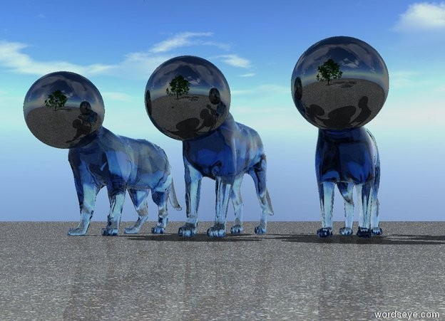 Input text: there are 3 5 foot tall translucent forget me not blue cats. they are 30 inches apart. there are 3 32 inch tall shiny black spheres. the spheres are 2 feet inside the cats. the spheres are -31 inches in front of the cats. the spheres are 24 inches apart. the ground is asphalt. there is a 24 foot tall tree 6 feet in front of the cats.