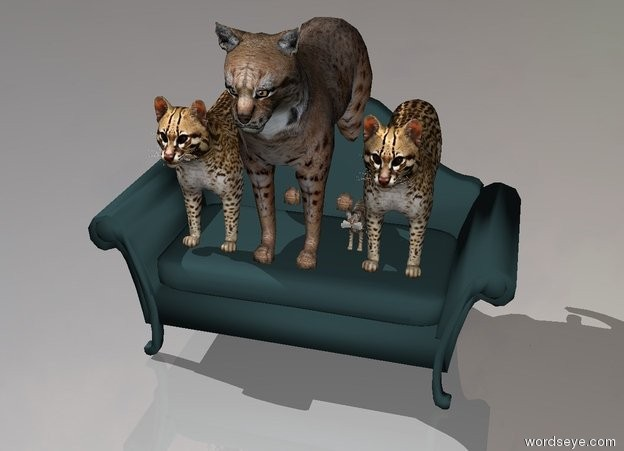 Input text: 4 cats on a sofa