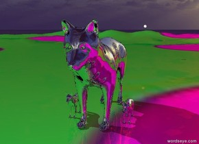 There is a polka dot mountain range. A giant silver wolf is on the mountain range. A silver wolf is 3 inches next to the giant wolf. A silver wolf is 3 inches to the right of the giant wolf. The mountain range is silver and shiny. The sky is shiny. The white sphere is 10 feet above the ground and 50 feet behind the giant wolf.