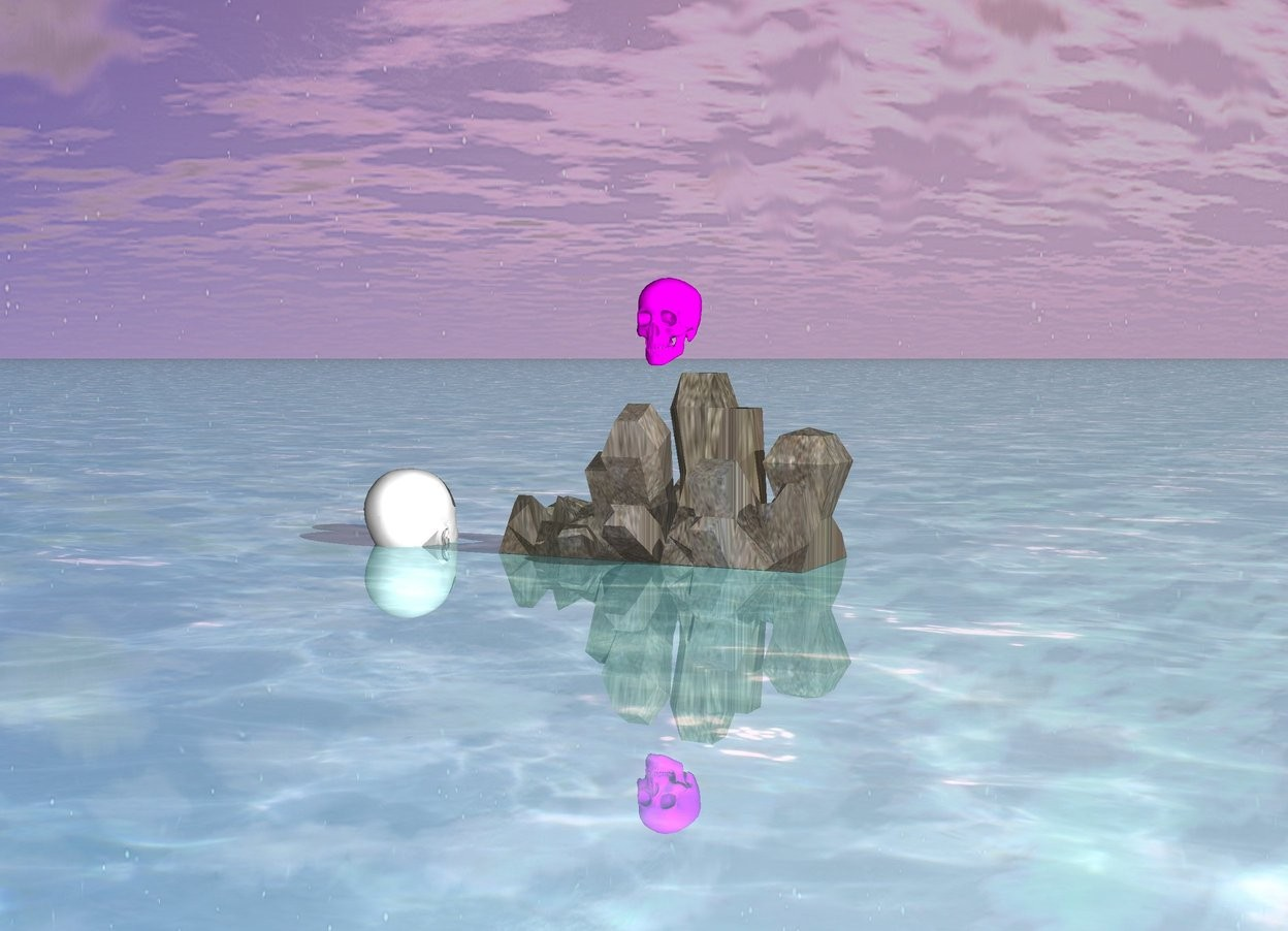Input text: it is morning . the fuchsia skull one inch above the rock .  the big white head one feet from the rock facing north .  the big white head is -8 inch above the ground .   the ground is shiny aquamarine water .