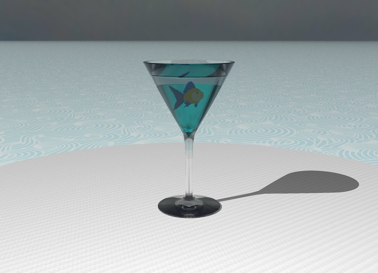 Input text: The glass is on the table. the table is [linen]. the table is on the ground.  The cyan cone. It is upside down. It is 3.6 inches wide and 3 inches tall. It is -3.6 inches above the glass. It is transparent.  The 1.5 inch tall fish is -1.5 inches above the cone.  The ground is water.