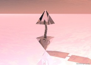 the ground is shiny pink. the sky is cloudy. there is an 2 feet tall upside down clear pyramid. there is a clear spinal cord 6 inches in the pyramid. there is a second two feet tall clear pyramid 6 inches in the spinal cord.