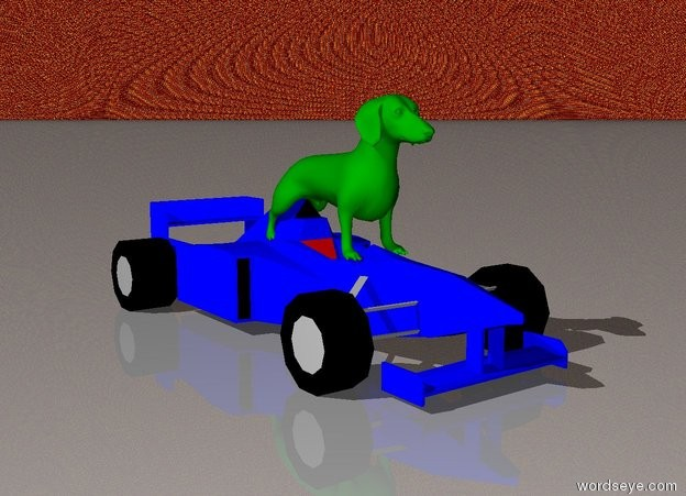 Input text: The green dog is on top of the very small blue car.  The sky is fire.