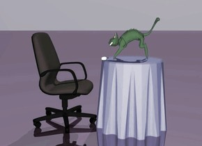 The green cat is on the table. The table is blue. The mouse is in front of the cat. The office chair is in front of the table. It is facing the table. the sky is mauve. the ground is shiny purple.