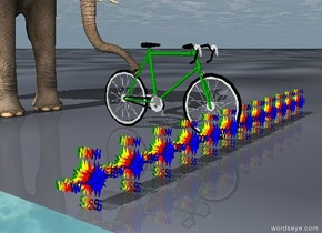 The 10 speed bicycle is green. In front of it are 12 blue stripes. There are 12 purple stripes behind the blue stripes. There are 12 red stripes behind the purple stripes. There are 12 red stripes behind the purple stripes. There are 12 orange stripes behind the red stripes. There are 12 yellow stripes behind the orange stripes. There are 12 green stripes behind the yellow stripes.   An elephant is three feet behind the green stripes.  The ground is a sinking disaster on the edge of a mighty volcanic river.  The sky is a volatile and petulant dog.