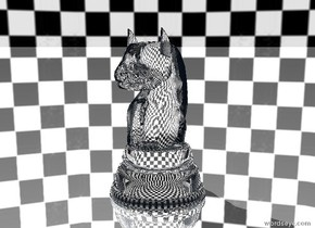 The ground is mirrored. The sky is checkerboard. There is a translucent white pawn.
