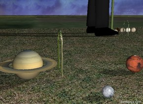 The grass field. the very tiny saturn is -5.4 feet above the field. the large man is 7 feet behind and 3.5 feet to the right of the saturn. he is facing right.  the tiny mars is a couple feet to the right of the saturn.  the tiny pluto is a foot in front of and a foot to the left of the mars.  the ground is grass. it is morning.