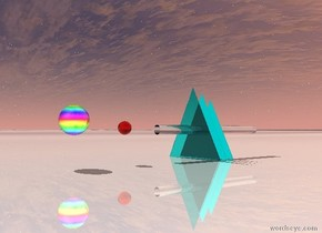 the ground is shiny ice. the first flat translucent cyan pyramid is on the ground. the second 11 inches tall flat cyan pyramid is 2 inches behind the first flat translucent cyan pyramid. the third 10 inches tall flat cyan pyramid is 2 inches behind it. there is a tiny 2 feet long clear cylinder 6 inches in the third pyramid. it faces up. there is a 2 inches tall translucent red sphere 5 inches in front of the cylinder. there is a 4 inches tall shiny rainbow sphere five inches in front of it.