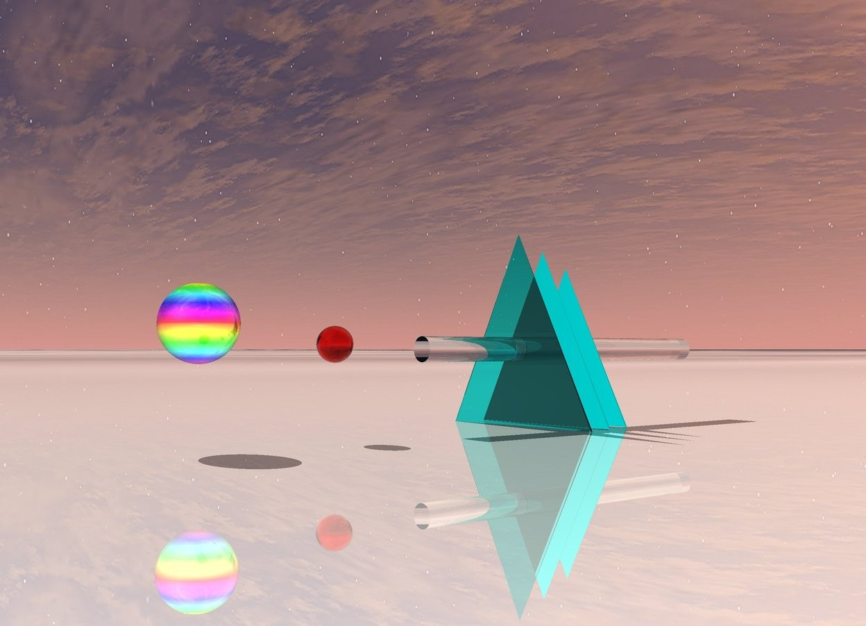 Input text: the ground is shiny ice. the first flat translucent cyan pyramid is on the ground. the second 11 inches tall flat cyan pyramid is 2 inches behind the first flat translucent cyan pyramid. the third 10 inches tall flat cyan pyramid is 2 inches behind it. there is a tiny 2 feet long clear cylinder 6 inches in the third pyramid. it faces up. there is a 2 inches tall translucent red sphere 5 inches in front of the cylinder. there is a 4 inches tall shiny rainbow sphere five inches in front of it.