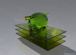 the first translucent chartreuse rectangle is 2 inches above the ground. the second translucent chartreuse rectangle is 2 inches above the first translucent chartreuse rectangle. the third translucent chartreuse rectangle is 2 inches above the second translucent chartreuse rectangle. the translucent chartreuse skull is 2 inches in the second translucent chartreuse rectangle. there is a tiny translucent chartreuse cylinder two inches in the translucent chartreuse skull. it faces up. the translucent chartreuse cylinder is 14 inches long.