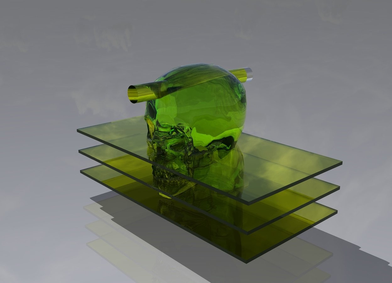 Input text: the first translucent chartreuse rectangle is 2 inches above the ground. the second translucent chartreuse rectangle is 2 inches above the first translucent chartreuse rectangle. the third translucent chartreuse rectangle is 2 inches above the second translucent chartreuse rectangle. the translucent chartreuse skull is 2 inches in the second translucent chartreuse rectangle. there is a tiny translucent chartreuse cylinder two inches in the translucent chartreuse skull. it faces up. the translucent chartreuse cylinder is 14 inches long.
