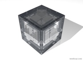 There is a transparent 20 foot high cube. There is a transparent 15 foot high cube 17.5 feet inside the 20 foot high cube. There is a transparent 10 foot high cube 12.5 feet inside the 15 foot high cube. There is a white transparent 8 foot high woman 9 feet inside the 10 foot high cube.  The ground is white. The sky is white.