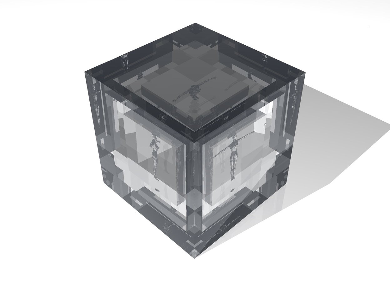 Input text: There is a transparent 20 foot high cube. There is a transparent 15 foot high cube 17.5 feet inside the 20 foot high cube. There is a transparent 10 foot high cube 12.5 feet inside the 15 foot high cube. There is a white transparent 8 foot high woman 9 feet inside the 10 foot high cube.  The ground is white. The sky is white.