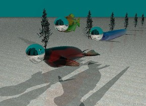 the translucent apricot seal is 6 feet tall. the ground is dull sand. the seal is 3 feet above the ground. the 53 inch tall silver sphere is 36 inches inside the seal. it is -46 inches in front of the seal. there is a 4 foot tall translucent marmalade fish to the right of the seal. it is 4 feet above the seal. it is -28 feet behind the seal. there is a 36 inch tall silver sphere 44 inches inside the fish. it is -30 inches in front of the fish. the sky is translucent teal. there is a huge snow light above the sky. there is an eel 7 feet to the right of the seal. it is 2 feet above the seal. the eel is 28 inches tall and translucent cornflower blue. there is a 32 inch tall silver sphere 18 inches inside the eel. it is -22 inches in front of the eel. there is a 450 foot tall shiny black high rise 30 feet in front of the seal. there are 12 translucent celadon green trees. the trees are 20 feet to the left of the seal. the trees are 1 inch inside the ground. the trees are 40 feet apart. there is a huge gray light 20 feet above the fish.