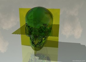 the ground is shiny gray. there is a 5 feet tall clear chartreuse skull. the first 5 feet tall clear chartreuse flat cube is 5 feet in the skull. it faces west. the second 5 feet tall clear chartreuse flat cube is 5 feet in the first 5 feet tall clear chartreuse flat cube. the third 5 feet tall clear chartreuse flat cube is 2.5 feet in the second 5 feet tall clear chartreuse flat cube. it faces up.