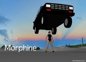"There is a black car above a woman wearing ""Morphine""."