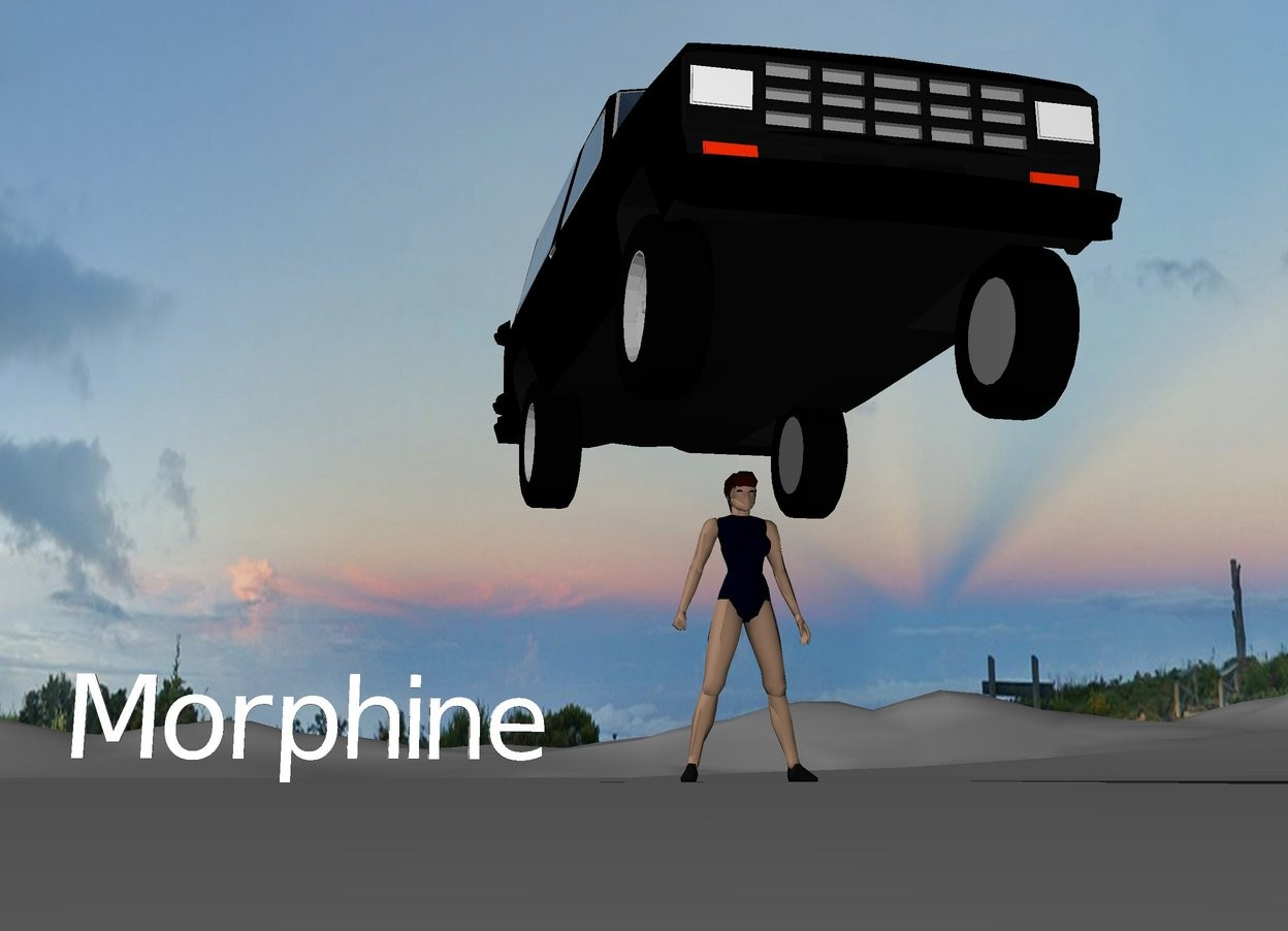 "Input text: There is a black car above a woman wearing ""Morphine""."