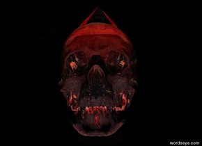 there is a 2 feet long flat clear red sphere 1 feet above the ground. it leans north. there is a clear skull in front of it. the sky is black. there is a bright white light 3 feet in front of the skull. the ambient light is red. there is a 6 inches tall clear pyramid 2 inches in the skull