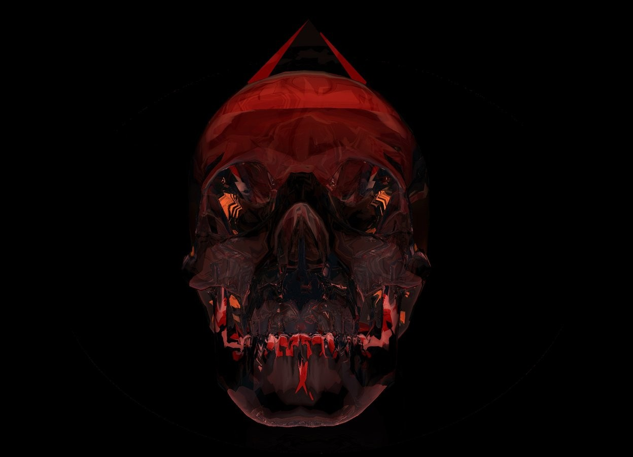 Input text: there is a 2 feet long flat clear red sphere 1 feet above the ground. it leans north. there is a clear skull in front of it. the sky is black. there is a bright white light 3 feet in front of the skull. the ambient light is red. there is a 6 inches tall clear pyramid 2 inches in the skull