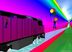 The first [rainbow] wall is 35 feet left of the shiny black train. It leans back. It is 5000 feet long.  It is 500 feet tall. It is 1 foot in the ground. It faces the train.  The second [rainbow] wall is 35 feet right of the train. It leans back. It is 5000 feet long.  It is 1 foot in the ground. It is 500 feet tall.  It faces the train.  The sun is white.  The ambient light is white.  The ground is forest green.  The train is 50 feet above the ground.  The water rectangle is under the train.  It is 15 feet wide.  It is 5000 feet deep.  The silver sphere is 700 feet in front of the train. It is 400 feet in the ground.  It is 1000 feet tall.  The boy is 8 feet to the left of the train.  He is -6 feet above the train.  He is 8 feet tall. He leans forward.