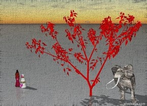 The stone elephant is under the red tree. A big wedding cake is 20 feet to the left of the tree. 2 seagulls are in the sky close to the tree. A princess is by the cake.