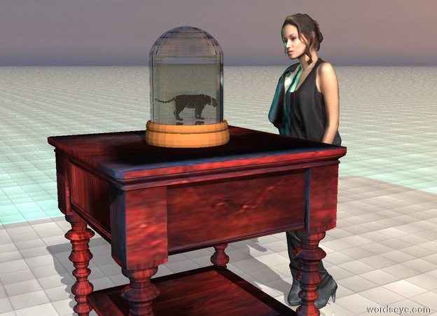 Input text: the ground is shiny tile. the tiger fits in a bell jar. the jar is on the table. a yellow light is a inch above the tiger.  a tiny cyan light is 2 inches right of the tiger.  the  three foot tall woman is in front of the table. she is facing the table.