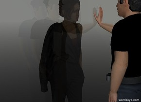 The cream wall in front of the person.  The person's shirt is black. The person's badge is black. the person's hat is black. The wall is transparent.  The other person is in front of the wall. The other person is facing the wall.  The ground is dark. The ground is transparent. The sky is moonlight blue. The camera light is mouse gray.