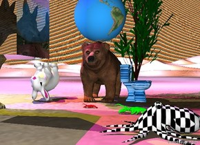 the large globe is above the bear. the buddha is five feet to the left of the bear and four feet above the bear. The magenta light is two feet above the buddha. The yellow light is two feet above the bear and four feet left of the bear. The wolf is one foot in the front of the bear. The wolf is 1 foot left of the bear. The wolf is large. The wolf is facing right. The blue light is one foot to the left of the buddha. The ground is black and white. The orange light is twelve feet behind the bear. The very large rabbit is two feet left of the bear. The large octopus is right of the bear. The large octopus is seven feet in front of the toilet. The toilet is right of the bear. The toilet is rough. The toilet is facing right. The tree is behind the toilet. The lobster is in front of the bear. The lobster is facing left. The octopus is checkerboard. There is a very very very large transparent cube two feet in front of the rabbit. The transparent cube is above the toilet. The sky is rainbow. The octopus is facing left. The rabbit is upside down. There is a large lobster four feet in front of the toilet. The lobster is facing left. The lobster is lime. The toilet is water.