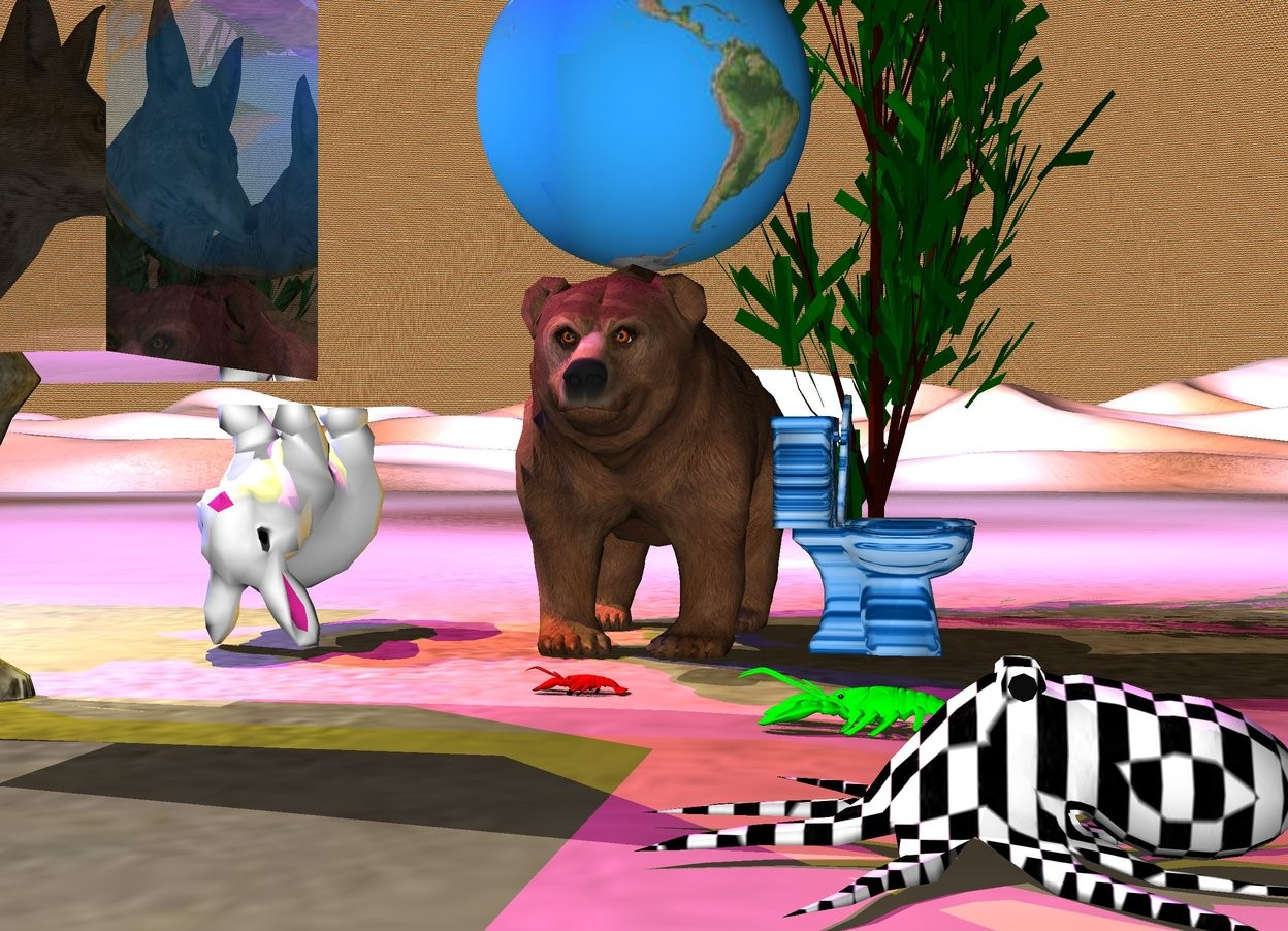 Input text: the large globe is above the bear. the buddha is five feet to the left of the bear and four feet above the bear. The magenta light is two feet above the buddha. The yellow light is two feet above the bear and four feet left of the bear. The wolf is one foot in the front of the bear. The wolf is 1 foot left of the bear. The wolf is large. The wolf is facing right. The blue light is one foot to the left of the buddha. The ground is black and white. The orange light is twelve feet behind the bear. The very large rabbit is two feet left of the bear. The large octopus is right of the bear. The large octopus is seven feet in front of the toilet. The toilet is right of the bear. The toilet is rough. The toilet is facing right. The tree is behind the toilet. The lobster is in front of the bear. The lobster is facing left. The octopus is checkerboard. There is a very very very large transparent cube two feet in front of the rabbit. The transparent cube is above the toilet. The sky is rainbow. The octopus is facing left. The rabbit is upside down. There is a large lobster four feet in front of the toilet. The lobster is facing left. The lobster is lime. The toilet is water.