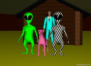It is evening.  The house is in the field.  The field is yellow.  The aqua man is in front of the house.  The hot pink dog is in front of the man. The dog is 3 feet away from the man.  The lime alien is to the left of the dog.  The checkerboard alien is to the right of the dog.