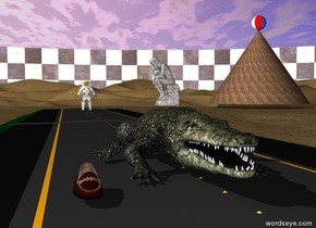 The alligator is on the street. The lake is beside the street. The large shoe is left of the alligator. The background is checkerboard. The small statue is on the alligator. The statue is stone. The statue is facing left. The street is two feet behind the street. The man is 50 feet behind the alligator. The giant cone is 100 feet behind the alligator and 50 feet to the right. The cone is 30 feet tall. The cone is 40 feet wide. The cone is 40 feet deep. The cone is very large wood. The large beach ball is on the cone. The beach ball is facing right. the shoe is -3 foot in front of the alligator.