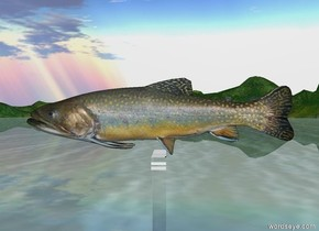 A trout on a T. The T is invisible. The trout is 4 feet long.