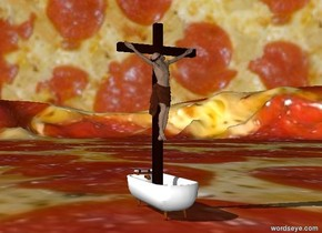 The sky is [pizza]. The ground is [za]. Sailor in a bathtub.