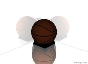 A ball is on the ground. The ground is reflective. The sky is reflective. A shiny cube is behind the ball. The cube is 100 feet wide. The cube is 100 feet tall.  A shiny cube is left of the ball. It is 100 feet wide.   A transparent cube is 2 feet in front of the ball and 2 feet to the right of the ball.