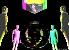 The shiny sky sphere is 10 feet above the ground. It is 60 feet tall.  The sky is black.  The ground is silver.  The pink man is 80 feet tall.  He is on the ground.  He is 5 feet northwest of the sphere.  He faces the sphere.  The honeydew man is 80 feet tall.  He is on the ground.  He is 5 feet southeast of the sphere.  He faces the sphere.  The powder blue man is 5 feet northeast of the sphere.  He is 80 feet tall.  He is on the ground.  He faces the sphere.  The cornsilk man is 80 feet tall.  He is 5 feet southwest of the sphere.  He is on the ground.  He faces the sphere.  The camera light is black.  It is noon.   The yellow light is 5 feet south of the sphere.  The cyan light is 5 feet north of the sphere.  The lime light is 5 feet east of the sphere.  The magenta light is 5 feet west of the sphere.  The shiny white icosahedron is 70 feet tall.  It is 20 feet above the sphere. The gray light is below the icosahedron.