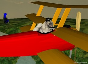 The plane is 300 feet above the ground. The plane is red. The dog is -22 inches above the seat of the plane. The dog is -3 feet to the back of the seat of the plane. The dog is facing right. The hat is -6.8 inches above the dog. The hat is -20 inches to the front of the dog. The hat is leaning 21 degrees to the front.  The blue barnstormer is 140 feet to the right of the plane. The barnstormer is -22 feet to the back of the plane. The barnstormer is 5 feet under the plane. The barnstormer  is leaning 75 degrees to the front.  The huge thought bubble is -13 feet below the barnstormer.   The thought bubble is grey.  The thought bubble is leaning 180 degrees to the front.  The second grey thought bubble is -13 feet above the barnstormer. The second thought bubble is huge. The second thought bubble is leaning 180 degrees to the front.  It is sunrise.