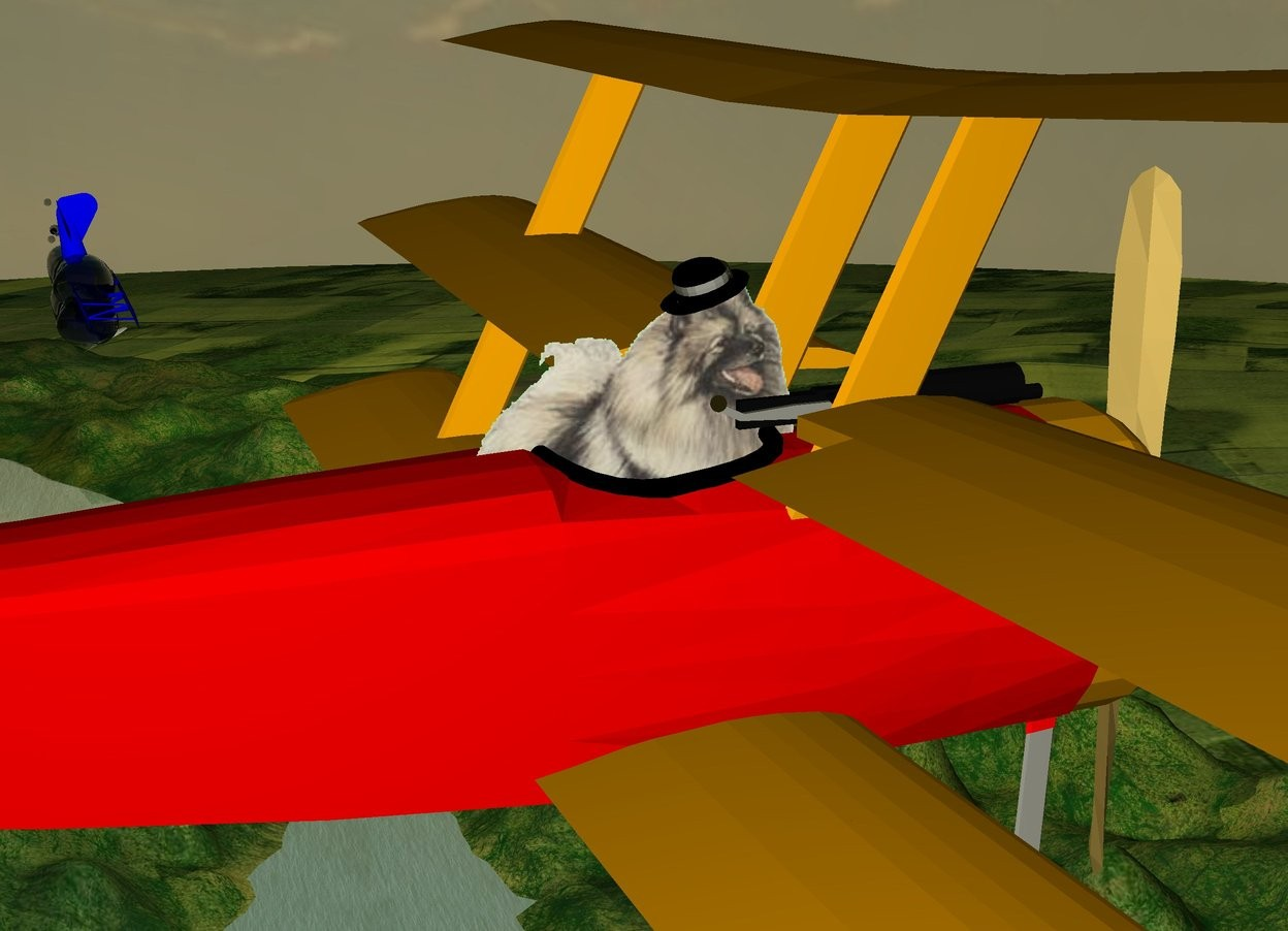 Input text: The plane is 300 feet above the ground. The plane is red. The dog is -22 inches above the seat of the plane. The dog is -3 feet to the back of the seat of the plane. The dog is facing right. The hat is -6.8 inches above the dog. The hat is -20 inches to the front of the dog. The hat is leaning 21 degrees to the front.  The blue barnstormer is 140 feet to the right of the plane. The barnstormer is -22 feet to the back of the plane. The barnstormer is 5 feet under the plane. The barnstormer  is leaning 75 degrees to the front.  The huge thought bubble is -13 feet below the barnstormer.   The thought bubble is grey.  The thought bubble is leaning 180 degrees to the front.  The second grey thought bubble is -13 feet above the barnstormer. The second thought bubble is huge. The second thought bubble is leaning 180 degrees to the front.  It is sunrise.