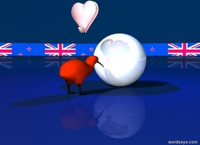 A bright kiwi is next to a large shiny sphere. Small pink hearts are eight inches above the kiwi. The kiwi is facing the sphere. The sky is New Zealand. The ground is New Zealand. The blue light is above the sphere. The hearts face the sphere. Behind the kiwi and the sphere is a New Zealand background.