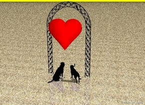The dogs are in front of the archway.  They face the archway.  The archway is black. The large red heart is 2 feet above the dogs.  It is noon.  The ground is grass. The sky is yellow.