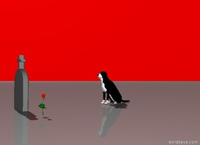 the gravestone is several feet in front of the dog. it is facing the dog. There is a red flower 2 feet to the right of the gravestone.  The sky is red.