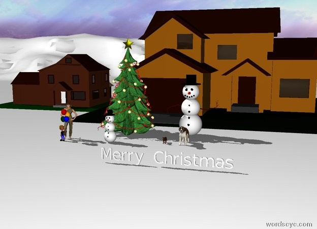 "Input text: Houses stand on a white terrain.   A big Christmas Tree stands two feet in front of the houses.   There is a big snowman two feet right of the tree. There is a dog two feet in front of the snowman. There is a cat two feet left of the dog.    There is a snowman two feet in front of the tree.   Two children stand four feet left of the snowman. There is a baby one foot right of the children.  ""Merry Christmas"" is ten feet in front of the dog."