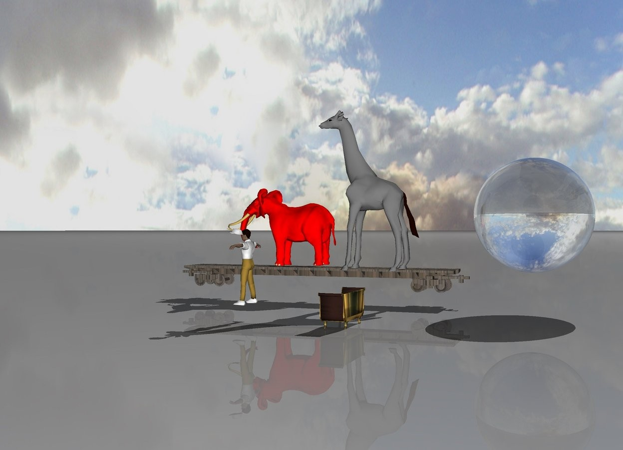 Input text: The giant red spider is on the rainbow couch. A man is 7 feet in the front of the spider. A brick train is 12 feet to the left of the man. A red elephant is on the train. A grey giraffe is on the train behind the elephant. A ten foot tall transparent sphere is 5 feet behind the giraffe.