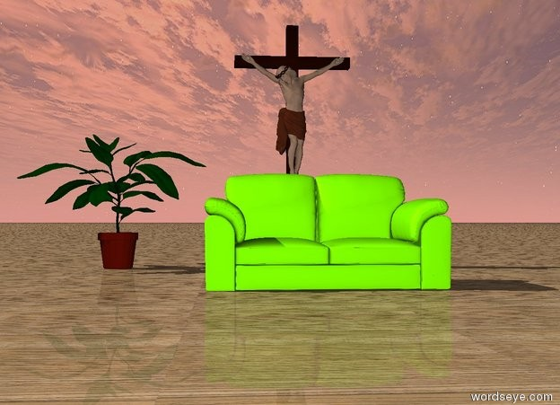 Input text: the chartreuse couch is several feet in front of the jesus. The jesus is behind the chartreuse couch. the ground is wood.  the huge potted plant is 1  feet to the left of the jesus