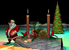 the small martini glass is on the yule log.  the very tiny santa is  next to the log.  the shiny mountain range is white.   the tiny christmas tree is three feet behind the log. it is night.  the green light is above the log. the red light is above the santa. a cyan light is  above the tree.